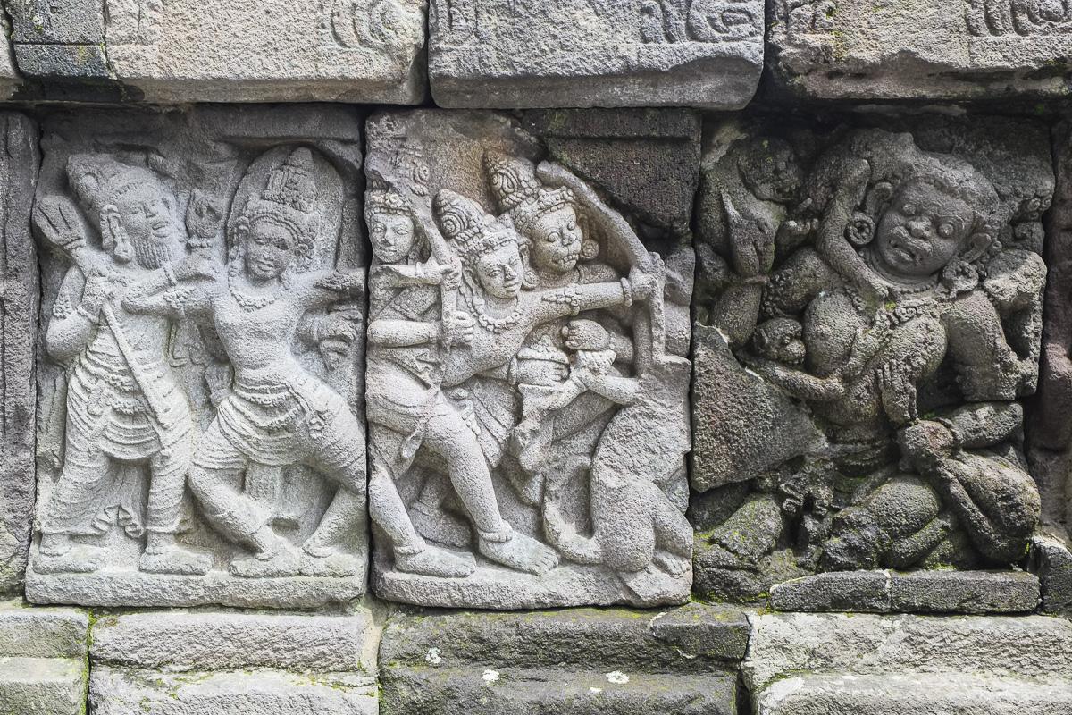The relief carvings at Prambanan