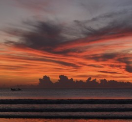 Kuta Beach Boat Sunset