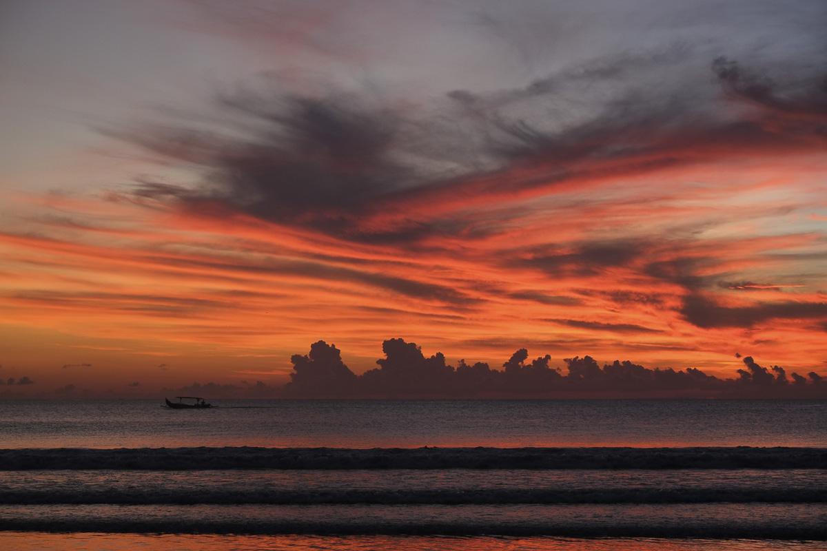 Kuta Beach Boat Sunset