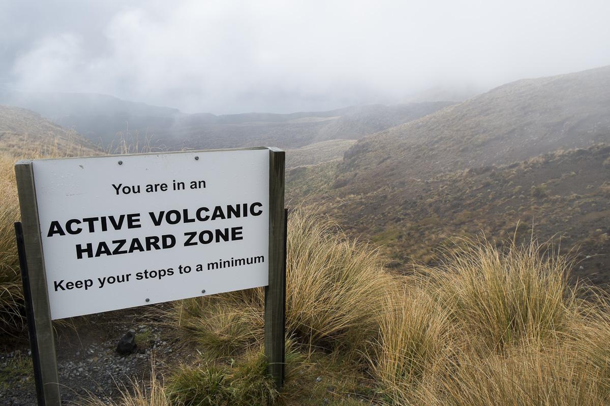 Tongariro Warning Sign